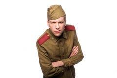 Verärgertes Schauen des russischen Soldaten Stockfotografie