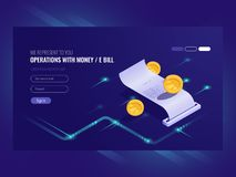 Verrichtingen met geld, elektronische rekening, muntstuk, chash transactie, betalings online isometrische vector vector illustratie