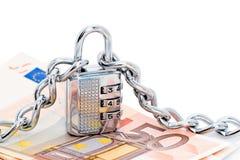 Verriegelung, Ketten und Geld Lizenzfreies Stockbild