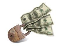Verriegelung und Dollar Stockfoto