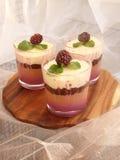 Verrine用巧克力、乳脂状的奶油甜点、莓果confit和杏仁b 图库摄影