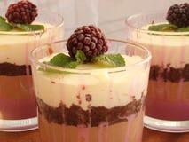 Verrine用巧克力、乳脂状的奶油甜点、莓果confit和杏仁b 免版税库存图片