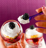 French Verrine with Berries and Cram Royalty Free Stock Image