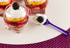 Verrine with blackberry and Chantilly Stock Photo