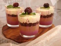 Verrine con cioccolato, mousse cremosa, il confit della bacca e la mandorla b Fotografia Stock