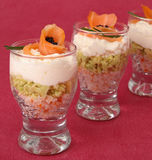 Verrine of salmon and avocado Stock Photography
