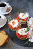 Verrines breakfast: poached eggs, tomatoes, zucchini and coffee Stock Photos