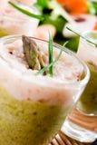 Verrines del gambero e dell'asparago Fotografia Stock Libera da Diritti