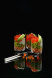 Verrines with red caviar Stock Photo