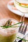 Verrines van de asperge en van garnalen Stock Foto