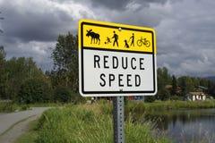 Verringern Sie Geschwindigkeitszeichen Lizenzfreie Stockbilder