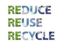 Verringern Sie, verwenden Sie wieder, bereiten Sie Erde, Wasser, Luft auf Stockbild