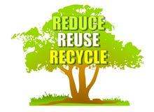 Verringern Sie Wiederverwendung aufbereiten grünen Baum Stockbild