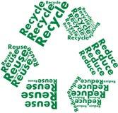 Verringern Sie Wiederverwendung aufbereiten Symbol mit Wörtern stockfotos