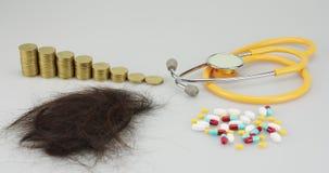 Verringern von Münzen und von HaarausfallZeitspanne lizenzfreie abbildung