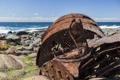 Verrostender Kessel vom Schiffbruch der SS Monaro Lizenzfreie Stockbilder