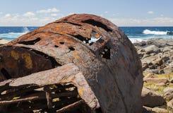 Verrostender Kessel vom Schiffbruch der SS Monaro Stockfotografie