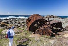 Verrostender Kessel vom Schiffbruch der SS Monaro Eurobodalla Lizenzfreie Stockfotografie