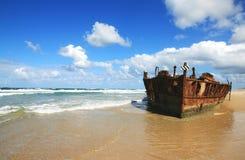 Verrostender Schiffbruch Stockfoto