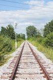 Verrostete Bahnstrecken und Lagerschwellen auf dem weißen Kies, umgeben mit dem Grün und blauem Himmel Lizenzfreie Stockfotografie