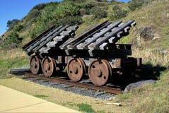 Verrostete Eisenzugräder auf Bahnstrecke Stockfotografie