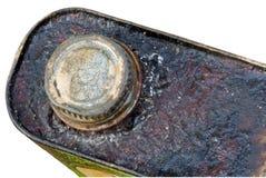 Verrostete korrodierte Oberseite und Kappe des Metalls können getrennt Lizenzfreies Stockfoto