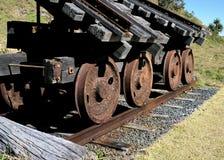Verrostete Schienenräder auf Eisenbahnlinie Stockfoto