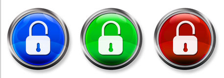 Verrouillez le bouton à trois dimensions de RVB Image stock
