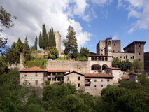 Verrucola village with its castle, fortress. Lungiana, Italy. Royalty Free Stock Photo