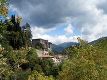 Verrucola village with its castle, fortress. Lungiana, Italy. Stock Photo