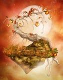 Verrukte boom met harten Royalty-vrije Stock Afbeeldingen