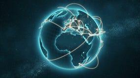 Versão azul e alaranjada do laço da rede global - ilustração do vetor