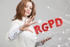 Versão de RGPD, de espanhol, francesa e italiana da versão de GDPR: Datos de Reglamento Geral de Proteccion de Dados gerais fotos de stock royalty free