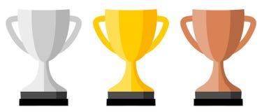 Versão do ícone, da prata, do ouro e do bronze do copo do troféu Foto de Stock Royalty Free