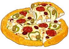 Versão do vetor da pizza Foto de Stock