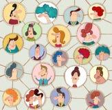 Versão dos desenhos animados da rede social Fotos de Stock Royalty Free