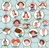 Versão dos desenhos animados da rede social Foto de Stock