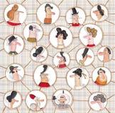 Versão dos desenhos animados da rede social Imagens de Stock