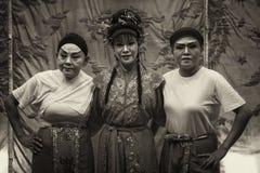 Versão escura do sepia dos membros da equipa do trupe da ópera de Teochew do chinês Foto de Stock Royalty Free