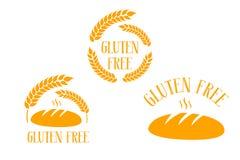 Vers brood van brood met gluten vrije hand getrokken typografie royalty-vrije illustratie