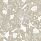 Vers creatief abstract marien naadloos patroon Overzeese het levensachtergrond met koralen, overzeese ster, shells en bellen Hand royalty-vrije illustratie