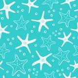 Vers creatief abstract marien naadloos patroon Overzeese het levensachtergrond met koralen, overzeese ster, shells en bellen Hand stock illustratie