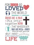 Vers d'or John 3 de bible 16 pour Dieu ainsi aimés le monde, fait lettrage de main avec le coeur et croix Images stock