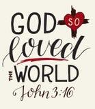 Vers d'or John 3 de bible 16 pour Dieu ainsi aim?s le monde, fait lettrage de main avec le coeur et croix illustration libre de droits