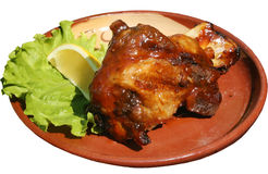 Vers die varkensvleeslapje vlees op barbecue met saus wordt geroosterd Royalty-vrije Stock Foto's