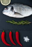 Vers Dorado-vissen, citroen, Spaanse peperpeper, rozemarijn en zout op B Royalty-vrije Stock Afbeelding