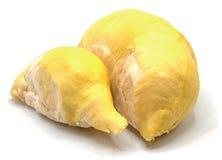 Vers durian die fruit op witte achtergrond wordt ge?soleerd stock fotografie