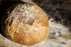 Vers eigengemaakt die brood van zuurdesem wordt gemaakt die op een draadrek rusten Artisanaal brood met gouden knapperige korst stock fotografie