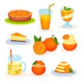 Vers fruit oranje desserts, vers gebakken pastei, sap, mousse, cake, puddings vectorillustraties op een witte achtergrond vector illustratie