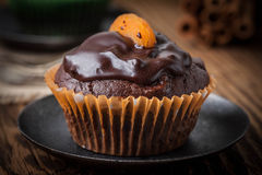 Vers gebakken chocolademuffins Stock Foto